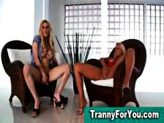 Tranny and blonde get ...