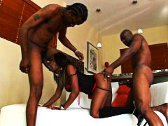 Ebony threesome with c...
