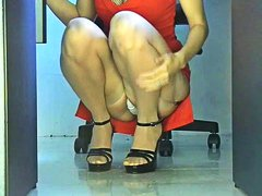 Office girl squatting ...