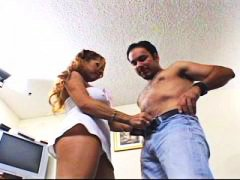 Busty latina gets two ...