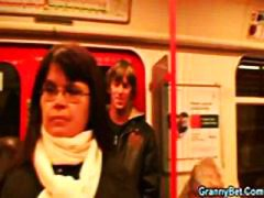 Chubby brunette gets p...