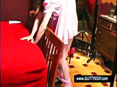 Crossdresser in pink d...