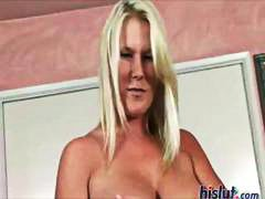 Busty blonde eats his ...