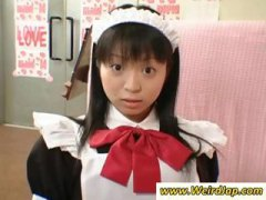 Petite Japanese maid gets...