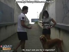 Outdoor blow job and s...