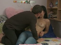 Lovely brunette teen l...