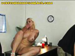 Busy blonde mom gets b...