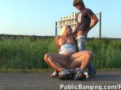 Public Sex Threesome W...