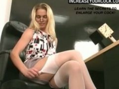 Blond secretary mastur...