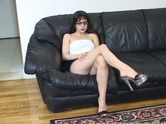 With her legs shown, j...