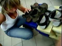 downblouse in shoe store