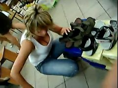 Xhamster - downblouse in shoe store