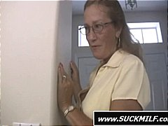 Mom in glasses gives t...