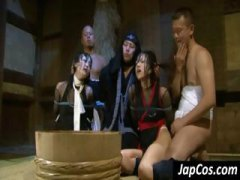 Tied up Asian slaves g...