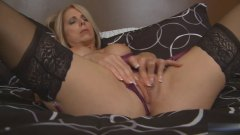 Blond milf masturbates... from Xhamster