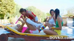Colourful four lesbos ... from HardSexTube