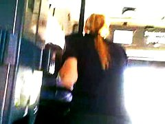Sexy Police Woman in Bus