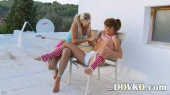 Eating and toying girl...