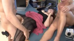 Fat chick fucked by tw...