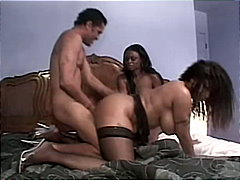 Hot ebony threesome wi...