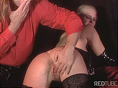 Blonde throatfucked in...