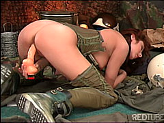 Army redhead works her... from Redtube