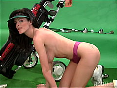 Female caddy on the green