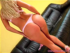 Blonde on black couch ... from Redtube