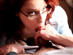 Redhead with glasses g...