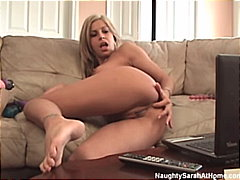 Blonde plays with her ...