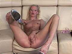 Blonde babe and her dildo