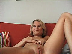 Young blonde on couch from Redtube