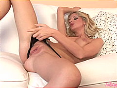 Sexy blonde using her toy