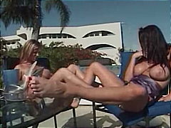 Two hot women having f...