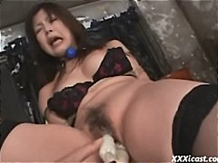 Busty Asian chick is b...
