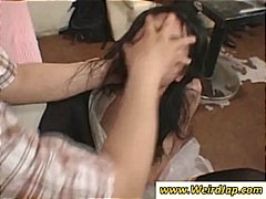 Asian maids are in a g...