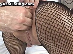 Whore in fishnets gets...