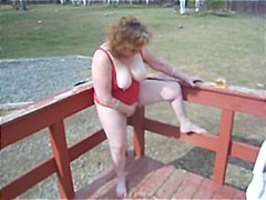 Wife kattee cums outdoors