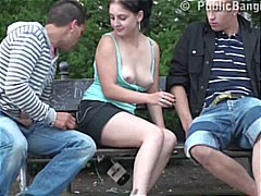 Public threesome sex o...