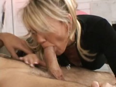 Milf gets on her knees... from Alpha Porno