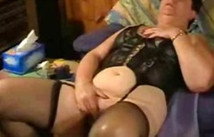 Old wife having fun in...