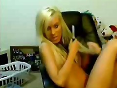 Blond masturbating on ...