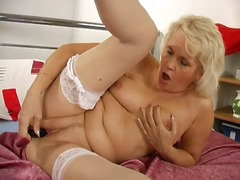 PornerBros - Blonde granny uses fin...