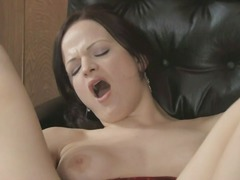 Horny brunette goes so...