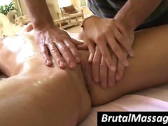 Blonde gets an oiled m...