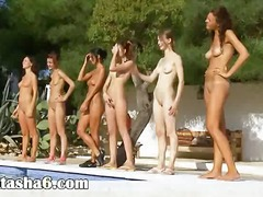 Six naked girls by the...