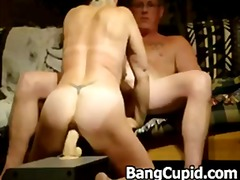 Horny wife rides big d...