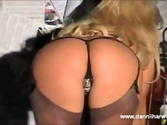 Hot blonde Dannii stri...