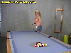 Blonde Does Pool Table...