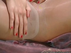 Horny blonde babe show...